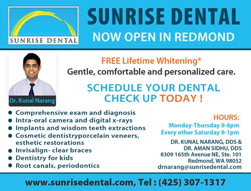 Sunrise Dental Redmond Dentist Dr Kunal Narang DDS Seattle Indian