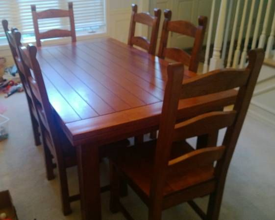Solid Wood Dining Table W Leaf 6 Chairs Furniture Items