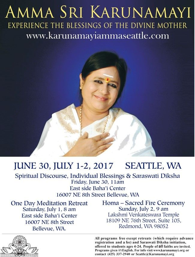 Amma Sri Karunamayi 2017 Seattle Program