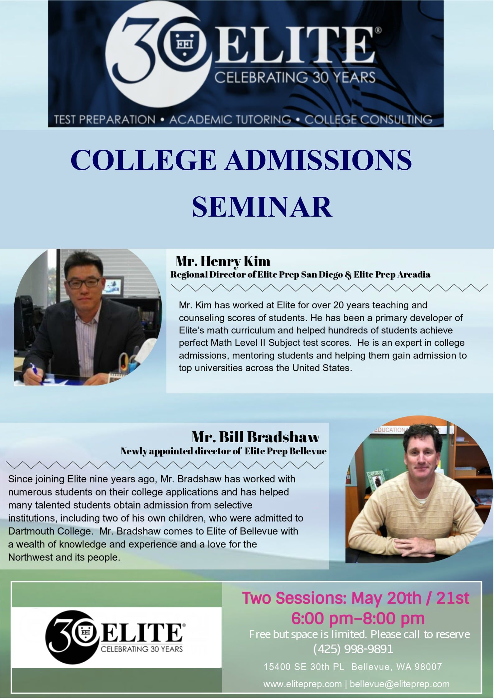 Elite Prep Bellevue College Admission Seminar