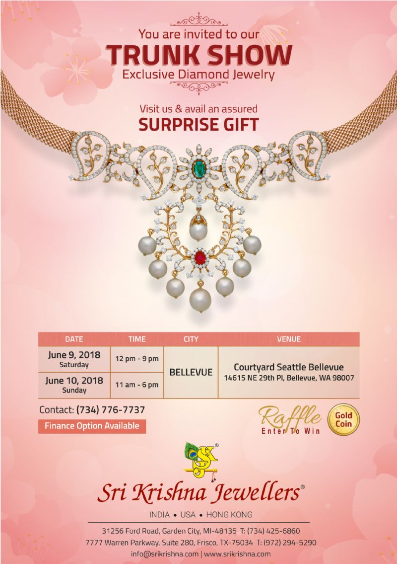 Sri Krishna Jewellers - Trunk Show in Seattle: Exclusive Diamond Jewelry