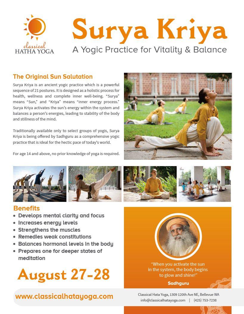 Surya Kriya The Original Surya Namaskar In Classical Hatha Yoga Studio Redmond