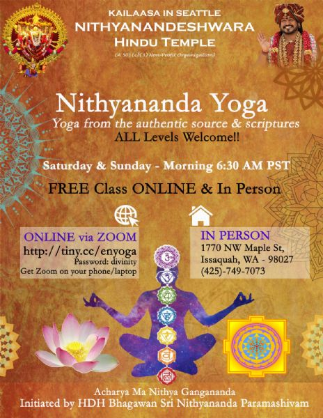 Free Group Yoga on Sundays 6:30AM to 7:30AM by Kailaasa of