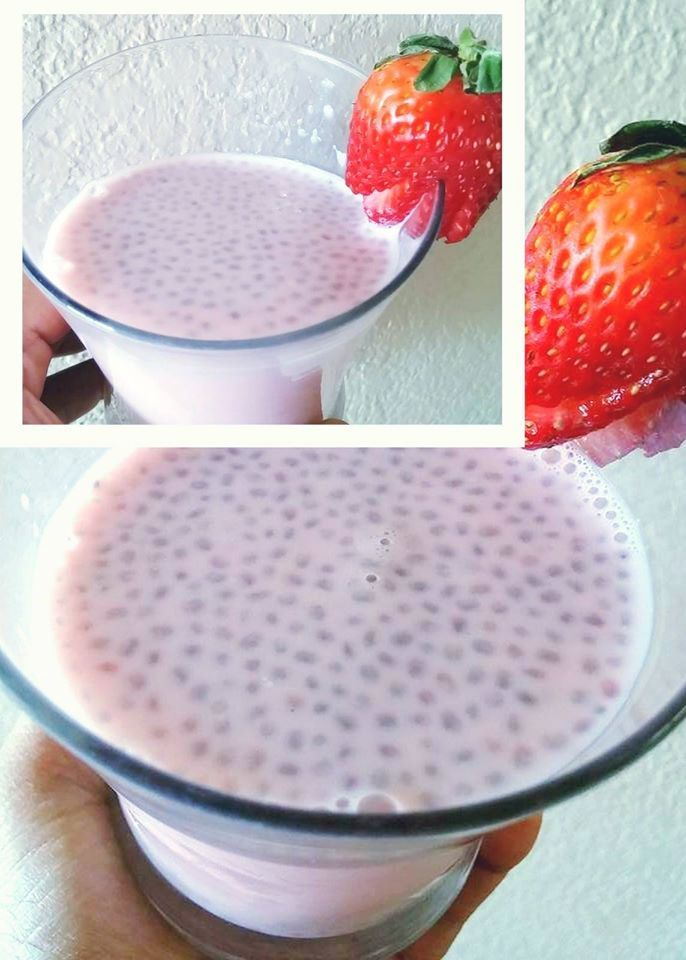STRAWBERRY SMOOTHIE WITH SWEET BASIL SEEDS